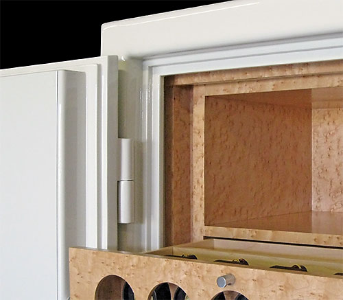 jewelry safe interior and door hinge