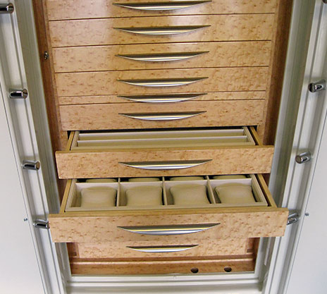 Jewelry safe custom wood drawers
