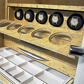 Jewelry safe trays and automatic watchwinders