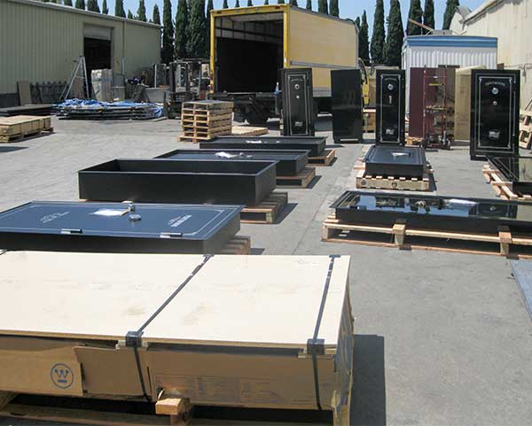 Vault doors and safes ready for shipping