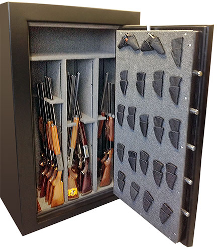 Frontier gun safe showing gun rack