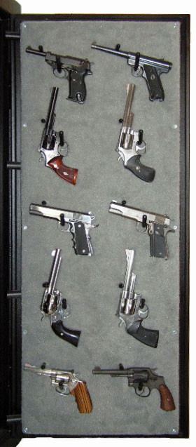 Pistol storage on safe doors