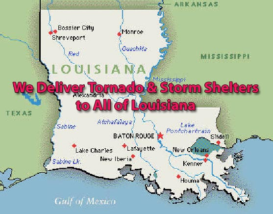 Tornado & Storm Map areas of Louisiana