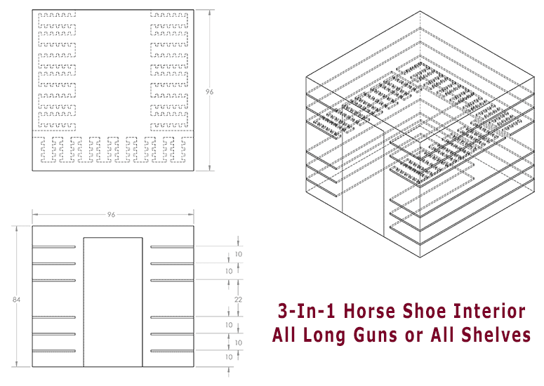 3-In-1 Horse Shoe Interior - All Long Guns or All Shelves