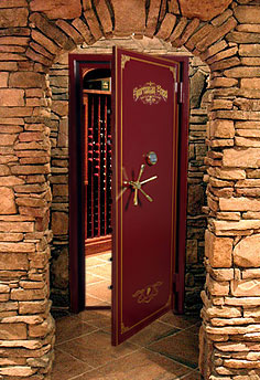 Wine storage and wine vault door sportsman steel safes for Walk in safe rooms